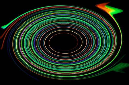 Abstract colorful circles glow over black. Stock Photo