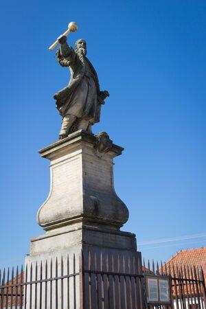 TYKOCIN, POLAND - SEPTEMBER 14, 2014: Statue from 1763 of the hetman Stefan Czarniecki, monument on the Market Square. Editöryel