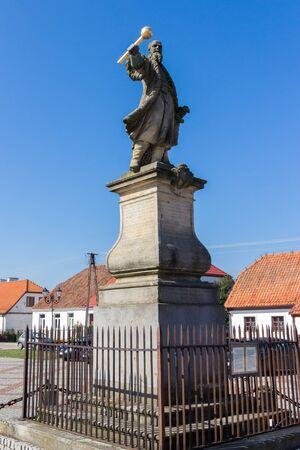 TYKOCIN, POLAND - SEPTEMBER 14, 2014: Statue from 1763 of the hetman Stefan Czarniecki, monument on the Market Square Editöryel
