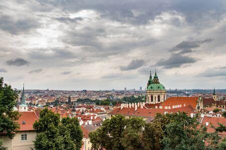 PRAGUE, CZECH REPUBLIC - JULY 11, 2014: Panoramic view of Prague from the Prague Castle Hradczany, Czech Republic