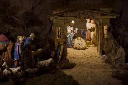 Nativity scene christmas, art objects representing the birth of Jesus,Nativity scenes exhibit figures representing the infant Jesus, his mother, Mary, and her husband, Joseph, night,stars
