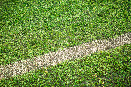 delimitation: Closeup shot to a football field with delimitation line in it and alot of grass