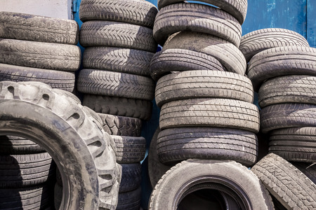 winter tires: Shot to a few stacks with different types of tyres
