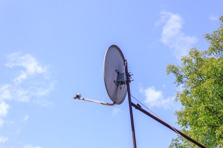receiver: Shot to an antenna oriented to the sky Stock Photo