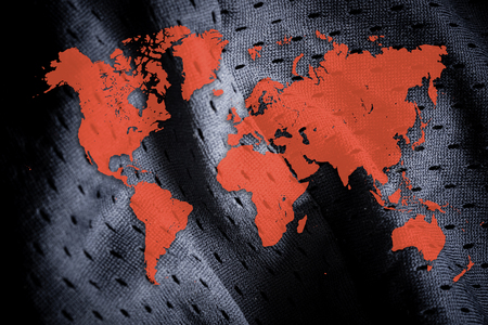 World map on sportswear background. Sport league concept banner