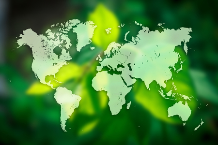 earth day: World map with leaf in background. Save the planet concept poster or flyer design