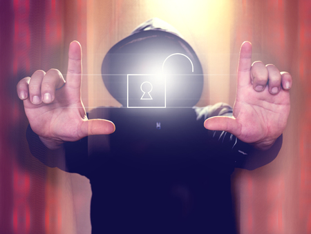 cybercrime: Hacker holding virtual screen with open padlock icon. Cyber security concept Stock Photo