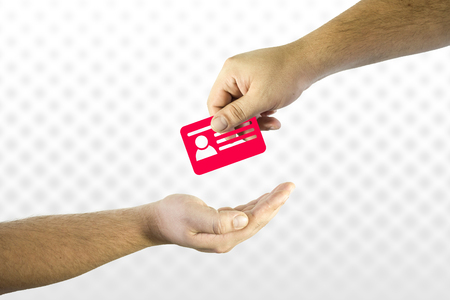 Hand giving id card icon to another. Help or assistance in online shopping issues concept