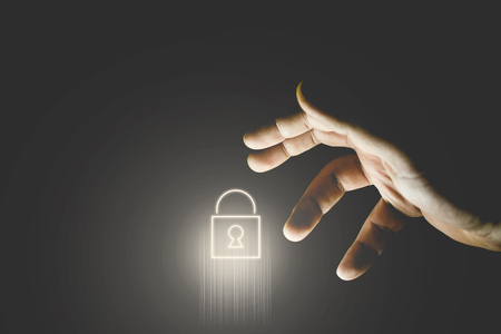 Hand stealinglocked padlock icon. Hacking, security