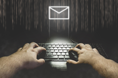 spy ware: Hand typing on keyboard with message icon. Hacking mail concept illustration