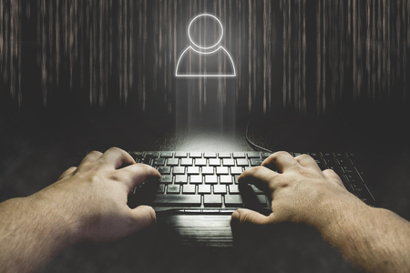 spy ware: Hand typing on keyboard with user icon. Hacking social account concept illustration