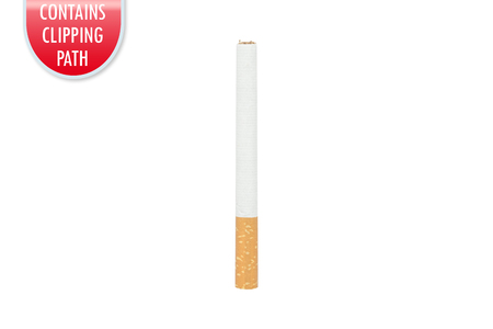 unlit: Cigarette isolated on white with clipping or working path