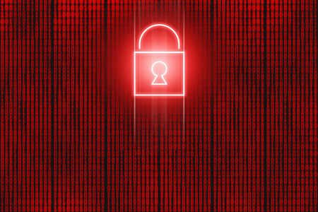 Red neon locked padlock icon in front of binary code screen. Hacking background concept