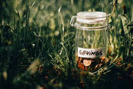 Small glass jar with golden coins with the label savings sitting in the grass on a bright spring day – Concept image for planning money, saving, achieving goals and lifestyle Stock Photo