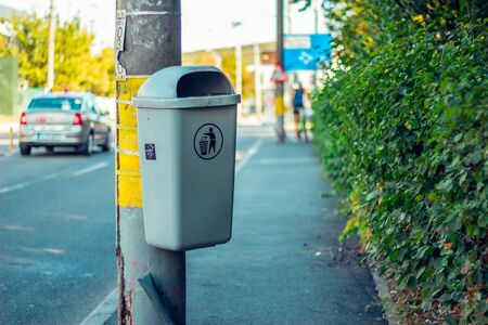 Trash can for public waste in the city. Stockfoto - 150230843