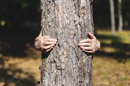 Woman giving a hug to a tree bark with bare hands - People connecting with nature - Young person protecting and embracing the environment
