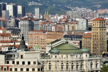 Aerial view of Bilbao city downtown with a St  James Stock Photo