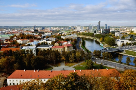 Old part and Downtown of Vilnius, capital of Lithuania in Autumn Stock Photo
