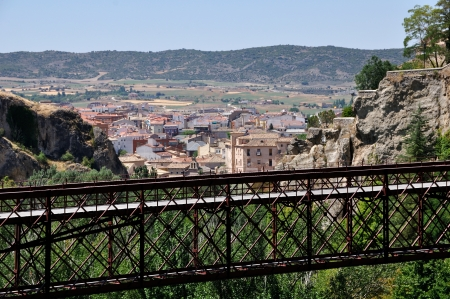forefront: Aerial view of Cuenca, Spain wirh Saint Paul Bridge at the forefront