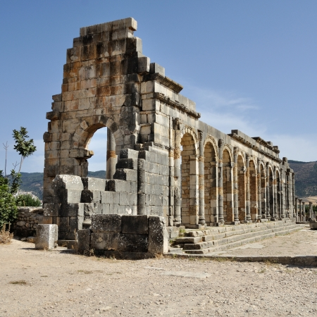 Volubilis is the best preserved Roman site in Morocco. Stock Photo