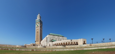 Exterior of Hassan II mosque with blue sky background, Casablanca, Morocco (Panorama)