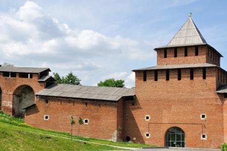 novgorod: Kremlin wall Nizhny Novgorod, Russia in summer Editorial