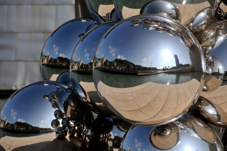 Sculpture 80 Balls Stainless steel, Indian artist Anish Kapoor, and located at the Guggenheim Museum Bilbao, Spain Stock Photo - 17713977