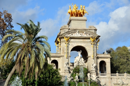 Golden Statue of Aurora in Ciutadella Park, Barcelona, Spain