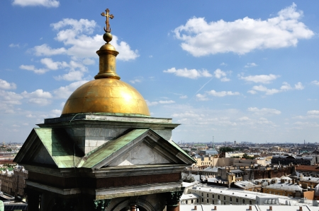 isaac s: Aerial view of Saint Petersburg from St  Isaac Stock Photo