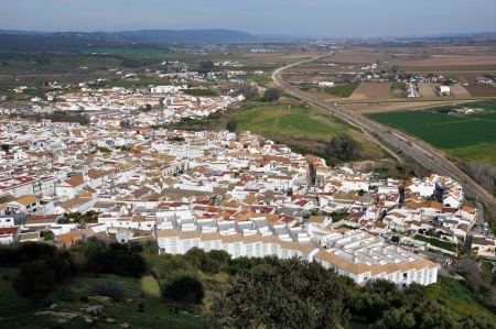 Aerial view of city of Almodovar del Rio, Cordoba, Andalusia, Spain photo