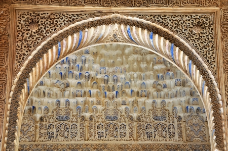 Beautiful Arc at the Alhambra palace in Granada, Spain