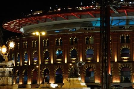 arenas: Arenas de Barcelona, Spain, night shot, frontview