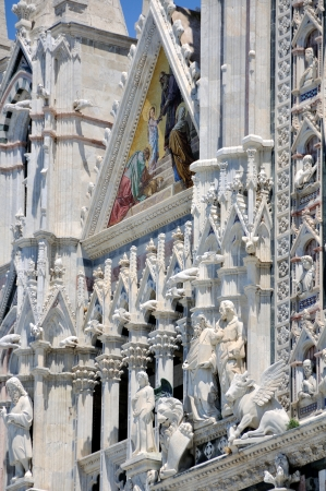 Facade of Cathedral Duomo, Siena, Italy photo