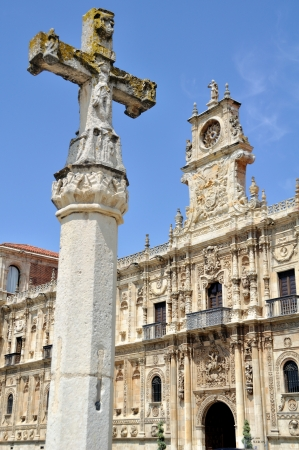 marcos: Cross on front of Convent of San Marcos, Leon, Spain Stock Photo