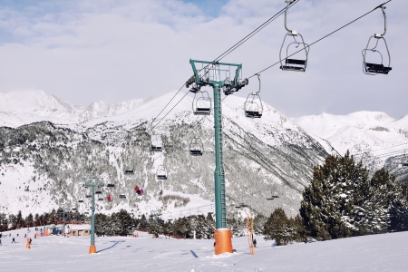 tourism in andorra: Winter Resort El Tarter and Pyrenees Mountains, Andorra Stock Photo