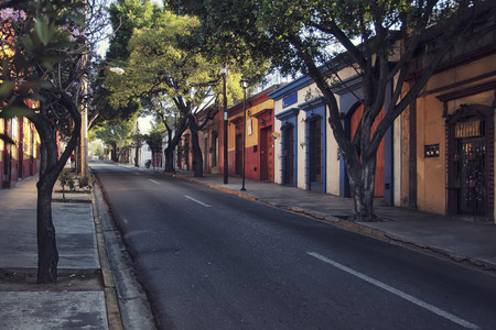 Morning streets in the one of the five most important Spanish colonial cities in the country - Puebla de Zaragoza, Mexico  Its history and architectural styles are very famous