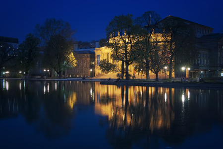 Stuttgart State Theater at night in Germany Stock Photo