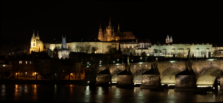 Charles Bridge in Prague, Czech Republic at Night with Castle Stock Photo