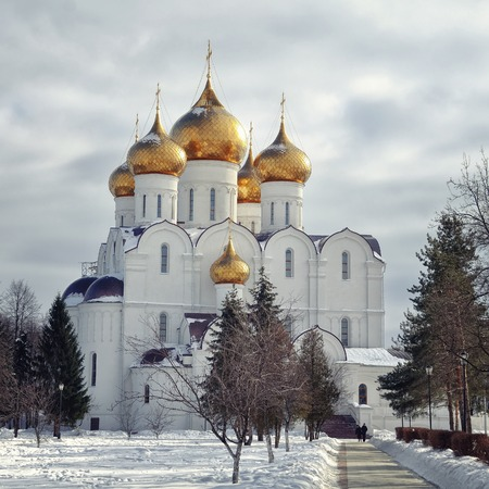yaroslavl: The Uspensky Cathedral in Yaroslavl, Russia in Winter - golden domes and crosses