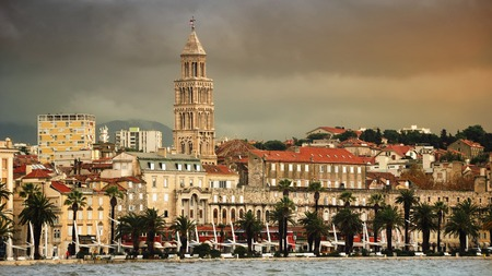 View of Split coast, Croatia with heavy sky