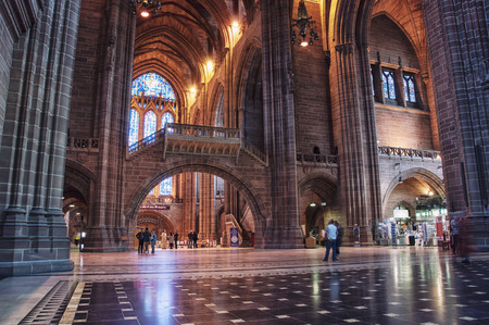 LIVERPOOL, UK - SEPTEMBER 5, 2014: Interiors of the Church of England Anglican Cathedral of the Diocese of Liverpool ranking as the fifth-largest cathedral in the world. Located at St James