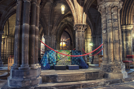 LIVERPOOL, UK - SEPTEMBER 5, 2014: Interiors of the Church of England Anglican Cathedral of the Diocese of Liverpool ranking as the fifth-largest cathedral in the world. Located at St Jamess Mount