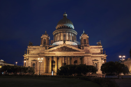 isaac: St Isaac Cathedral at night, Saint Petersburg, Russia. It is a largest orthodox basilica in the world - a popular landmark Stock Photo