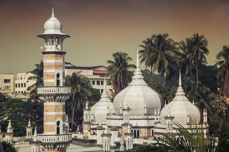 islamic scenery: Close view of Jamek Mosque in Kuala Lumpur Stock Photo