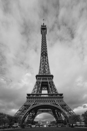 Eiffel Tower: Eiffel Tower, black and white in Paris, France