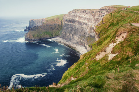 moher: Famous cliffs of Moher in County Clare Ireland Europe. Beautiful landscape natural attraction.