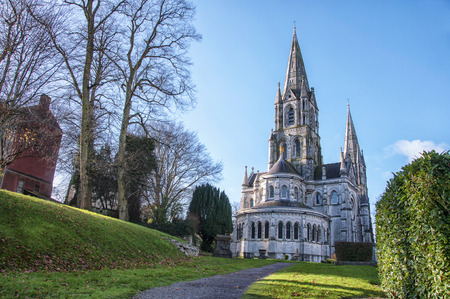 irish history: St Fin Barres cathedral behind the trees in Cork, Ireland