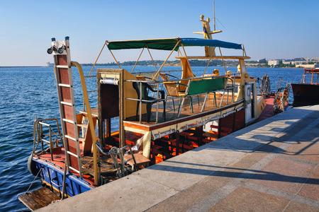 touristic: Touristic double deck boat moored in Sevastopol, Crimea
