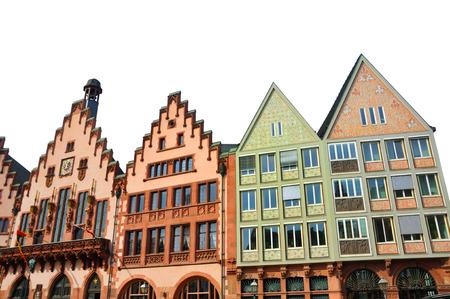 existed: Isolated Eastern facade of the Romer - a medieval building in Germany. It is made in Altstadt of Frankfurt am Main - a historical center of the city, which existed from the 8th century Stock Photo