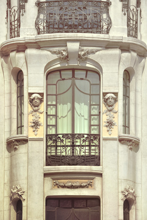 neoclassical: Facade of building in Madrid, Spain. Neoclassical architecture, vintage effect
